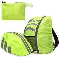 kwmobile set protection pluie casque vélo sac à dos - cartable unisex jaune néon imperméable
