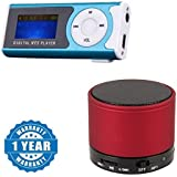 Drumstone Portable Mini Digital MP3 Music Player LCD Display LED Torch MicroSD/TF Slot With Mini Bluetooth Wireless Speaker (S10) Compatible With All Smartphones (Assorted Colour, One Year Warranty)
