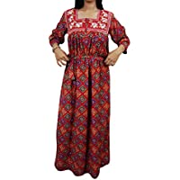 Mogul Interior Womens Nightgown Embroidered Maxi Lounger Caftan M