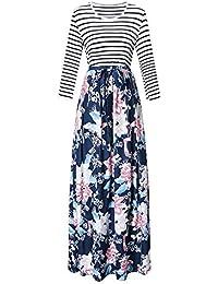 Damen Langarm Kleid Maxikleider Blumenkleid Drucken Strandkleid Vintage  Abendkleid Rundhals Hohe Taille Elegant Floral Print Böhmischen aa21de2130