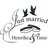 Auto Adhesivo decorativo para bodas para luna trasera Sprüche Just Married con nombre personalizado