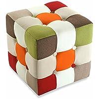 Versa 19500461 Puff cubico Red Patchwork,35x35x35cm,Cotone,Sgabello,Poggiapiedi