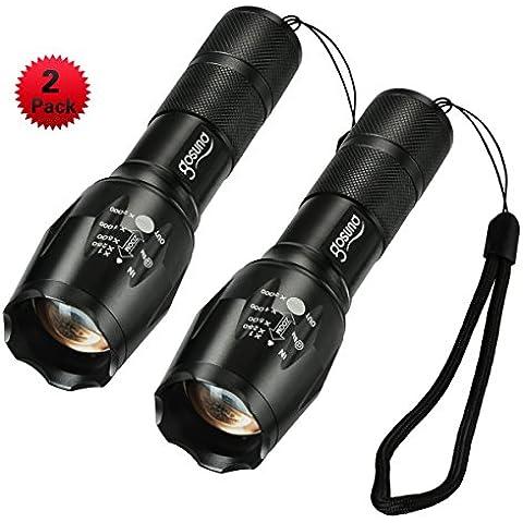 (2 Pezzi) Torce LED Torce torcia Gosund torcia elettrica di 5 modalità di T6 torce tattiche acqua stradale resistente per esterni con pulsante di scatto LED (2pcs)