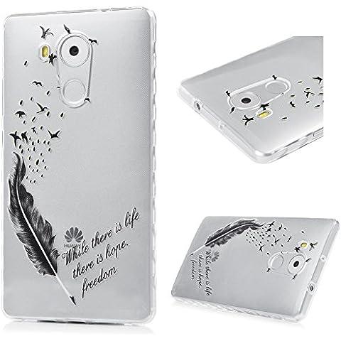 Huawei Mate 8 Funda Cubierta - Lanveni Chic Carcasa Suave Flexible TPU Gel Silicona ultra delgado para Huawei Mate 8 Pintado Protective Ondulado Frontera Case Cover - Patrón Pluma