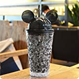 SNOWBIRD® LUXURY Frosty Mason Super Ice Cup Acrylic Jar With Straw Freezing Gel For Juice, Beer, Soft Drinks, Water, Ice Cream Cup With Straw Crushed Ice Creative Water Glass Cold Drink Mug Bottle Gift, 450 Ml (BLACK)