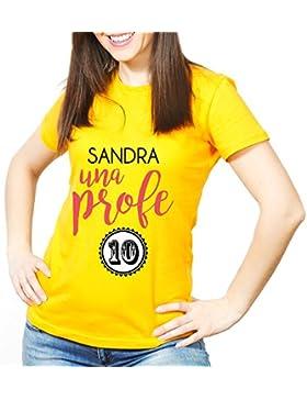 Calledelregalo Regalo Para profesoras Personalizable: Camiseta 'Profe 10' Personalizada con su Nombre