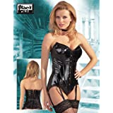 Black Level - Corsé de PVC con liguero para mujer (talla XL), color negro