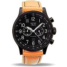 Davis 0452O - Reloj Aviador Hombre Negro 48mm Cronógrafo Sumergible 50M Correa de Lorica Naranja
