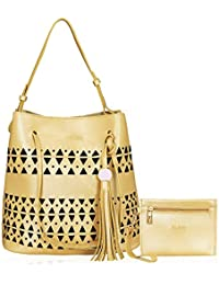 Kleio Stylish Combo Of 2 Laser Cut Top Handle Tote Shoulder Hand Bag For Women/Girls - B07FBBFSHB