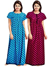 Mudrika Women's Cotton Embellished Maxi Nightgown (Pack of 2) (ComboNT_7812_Multicoloured)