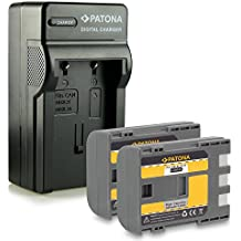 Bundle - 4in1 Caricabatteria + 2x Batteria NB-2L / BP-2L5 per Canon PowerShot S30   S40   S45   S50   S60   S70   S80   G7   G9   EOS 350D   EOS 400D - Camcorder MV800   MV830   MV830i   MV850i e più… Legria HF R16   HF R17   HF R18   HF R106