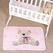 Flair Rugs Kiddy alfombra de juegos para niños impresión Teddy, rosa, 130x 180cm