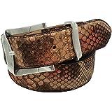 ESPERANTO Cintura in Pitone unisex foderata in vera pelle Cuoio nabuc con Fibbia colore Argento satinato- 4 cm lavorazione pa