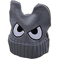 Cute Big Eyed niños tejidos a mano Resil invierno sombrero suave bebé caliente Cap, gris