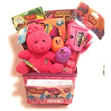 DreamWorks Trolls Easter Holiday Gift Basket or Birthday Basket - Puzzle, Play&GoPack, Candy,Stickers, Coloring Book, Pink Plush Teddy Bear - 12 pieces
