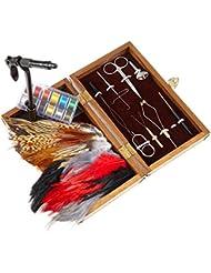 binde Kit pour mouches avec bandes de étage, binde Outil Accessoires dans une boîte en bois