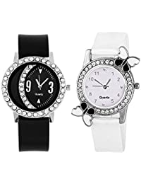 Xforia Girls Watch Rubber Band Black & White Dial Watches For Women (Pack Of 2 VS-FLX-719)