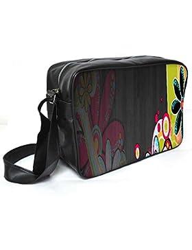 Snoogg Neon Daisies 2665Leder Unisex Messenger Bag für College Schule täglichen Gebrauch Tasche Material PU