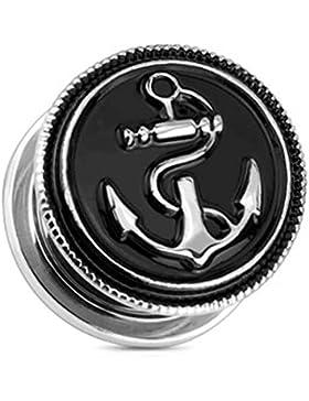 Paula & Fritz® Plug mit Schraubverschluss aus Edelstahl Chirurgenstahl 316L schwarz alter Anker 8mm – 20mm PSZ07