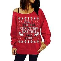 HWTOP Sweatshirts Hoodies Damen Shirt Oberteil Hemd Langer T-Shirt Pullover Locker Weihnachten Sport Freizeit Premium Kleidung Langarmshirt Bluse Frauen Tops Von Der Schulter