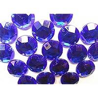120 azul zafiro acrílico Rhinestone gemas 12mm redondo cuentas cosido en