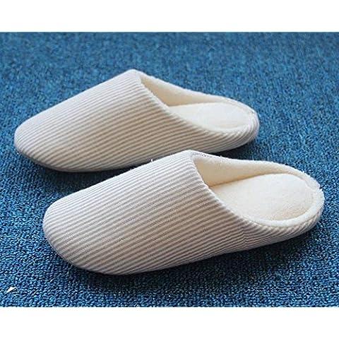 SHIXR Gli uomini e le donne a casa e il pavimento in legno morbido dell'interno del pavimento pantofole muto silenzioso paio di pantofole , beige , b