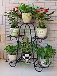 Green Gardenia Iron Plant Stand/Pot Stand (6 Pot Holder Black)