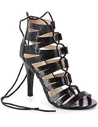 Sandales à talon aspect cuir serpent - Talon 11 cm