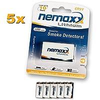 Nemaxx - Batteria al litio da 9 V, per rilevatore di fumo 5 pezzi