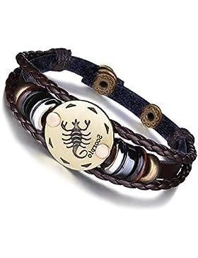 [Gesponsert]Damen Herren 12 Sternzeichen Armband Vintage Lederarmband Paare Armband Charms Armband Liebes Ketten für Paare