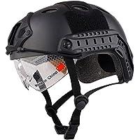 Rápido estilo táctico casco con gafas, NVG Mount, Side Rail y velcro, hombre, negro
