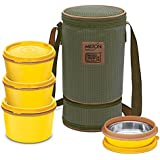 Milton Flexi Insulated Inner Stainless Steel Lunch Box Set, 4-Pieces, Yellow