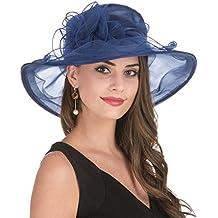 LUCKY Leaf Sombrero Encantador de la Iglesia de Organza de la Mujer Sombrero Borde Ancho Floral