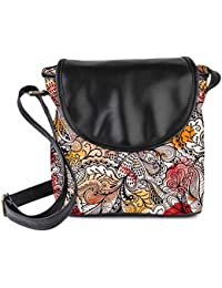 Snoogg Seamless Texture With Flowers And Butterflies Endless Floral Pattern Womens Sling Bag Small Size Tote Bag