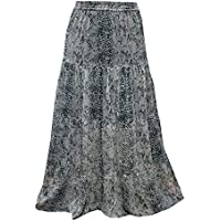Mogul Interior Womens Gyspy Long Skirt Black Printed Bohemian Fashion Maxi Skirts L