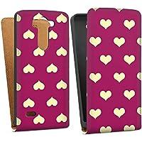 LG G3 S Tasche Hülle Flip Case Herzchen Muster Pattern