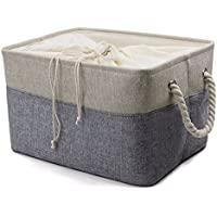 Natural de lino doblando cestas de almacenamiento con cierre de algodón para juguetes, organizador de paño, almacenamiento de libros, cubo de almacenamiento para el estante, gris
