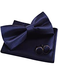 Solid Pre-tied Bow Tie Cufflinks Hanky Set for Men Neck Wear, Dark Navy