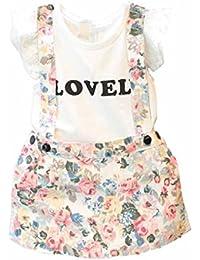 Vestido niña, Switchali Bebé Niña Verano moda blusa chaleco floral camisa + falda cortos de Correa Conjunto de ropa de fiesta para chica casual linda blusa de muchacha en oferta