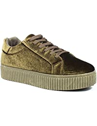 Ideal Shoes - Baskets style creepers effet velours Sophie