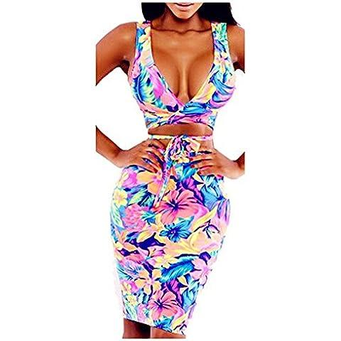 DAYAN Womens profondo scollo a V con stampa a fiori pannello esterno della spiaggia occultamento wrap dress costume da bagno Taglia S