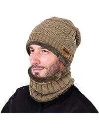 VBIGER 2-Pieces Set Cuffia Sciarpa Cappello Invernale Caldo Berretto a  Maglia Spessa Knit Berretto 6a0a50b9109c