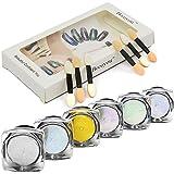 Becoyou uñas brillo polvo brillo espejo polvo maquillaje Set uñas con esponja pegue 6Pcs/Set 1g/caja