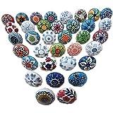 30 keramische knoppen, mix, vintage look, bloemendesign, handgrepen voor deuren, kasten, laden