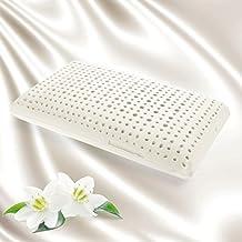Oro Flex–Jabón förmiges–Almohada de látex, 14cm de altura, con canales de ventilación, transpirable, con un–Tejido de 100% de algodón tapizado