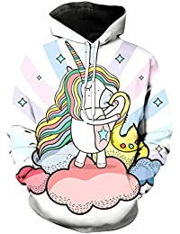Ocean Plus Niña Unicornio Flamenco Impresión Digital Mangas Largas Sudaderas con Capucha Cumpleaños Deporte Piña para