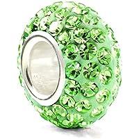Pietra del mese di agosto, colore: verde Lime, in argento Sterling 925, con ciondolo e cristalli, colore: Verde - Silverado Cristallo
