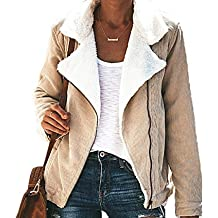 Mujer Pana Ropa de Abrigo Mantener Caliente Tops Sweater Jacket Outerwear Moda Solapa Manga Larga Suéter