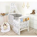 11 Piezas juego de ropa de cama para cuna de bebé cama edredón, dosel + soporte (120x60cm, Estrellas grises)