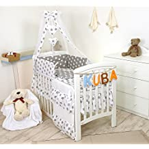11 Piezas juego de ropa de cama para cuna de bebé cama edredón, dosel + soporte #19 (120x60cm, Estrellas grises)